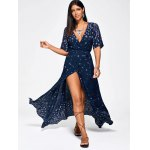 cheap Paisley Print High Slit Maxi Beach Wrap Dress