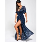 Paisley Print High Slit Maxi Beach Wrap Dress for sale