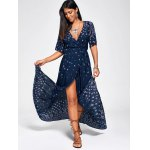 Paisley Print High Slit Maxi Beach Wrap Dress deal