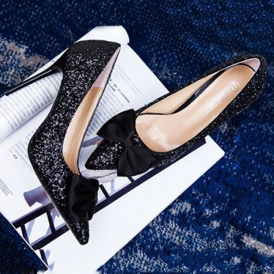 Glitter Bow Mini Heel PumpsWomens Pumps<br>Glitter Bow Mini Heel Pumps<br><br>Embellishment: Bowknot, Bowknot<br>Heel Height: 10CM, 10CM<br>Heel Height Range: High(3-3.99), High(3-3.99)<br>Heel Type: Stiletto Heel, Stiletto Heel<br>Occasion: Party, Party<br>Package Contents: 1 x Pumps (pair), 1 x Pumps (pair)<br>Pumps Type: Basic, Basic<br>Season: Summer, Summer, Spring/Fall, Spring/Fall<br>Shoe Width: Medium(B/M), Medium(B/M)<br>Toe Shape: Pointed Toe, Pointed Toe<br>Toe Style: Closed Toe, Closed Toe<br>Upper Material: Sequined Cloth, Sequined Cloth<br>Weight: 1.5000kg, 1.5000kg