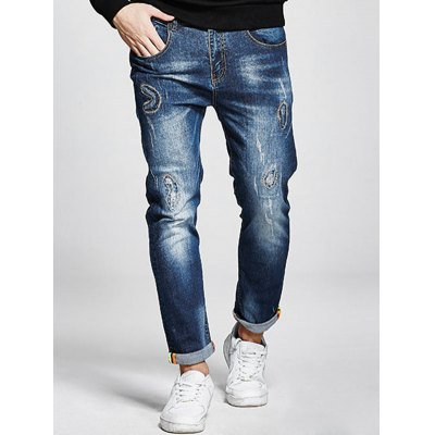 Plus Size Zip Fly Stitching Jeans