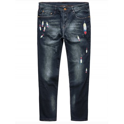 Feather Embroidery Plus Size Straight Jeans