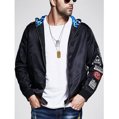 Plus Size Patched Camo Hooded Bomber Jacket