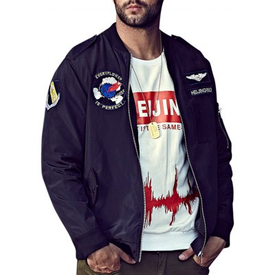 Plus Size Embroidery Graphic Bomber Jacket