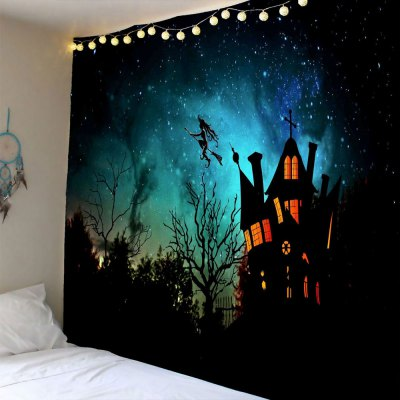 Halloween Witch Printed Waterproof Wall Hanging Tapestry