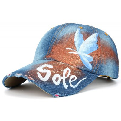 Hand Painted Butterfly Letters Printed Baseball Hat