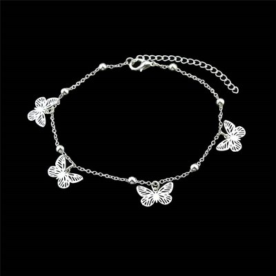 Alloy Beads Butterfly Charm Anklet