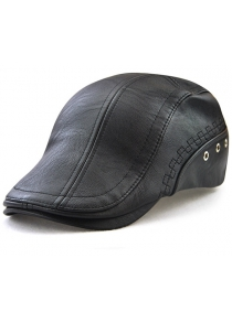Faux Leather Round Rivet Embellished Newsboy Dad's Hat