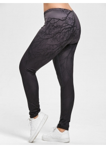 Halloween Branches Ombre Print Plus Size Leggings