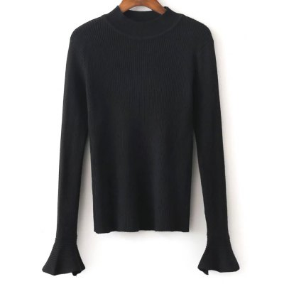 High Neck Flare Sleeve Stretchy Knitwear