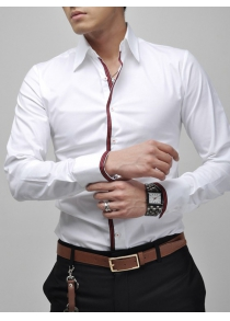 Turn-Down Collar Long Sleeve White Shirt