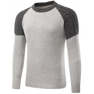 Raglan Sleeve Cable Knit Panel Sweater