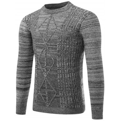 Crew Neck Ribbed Knit Space Dyed Sweater