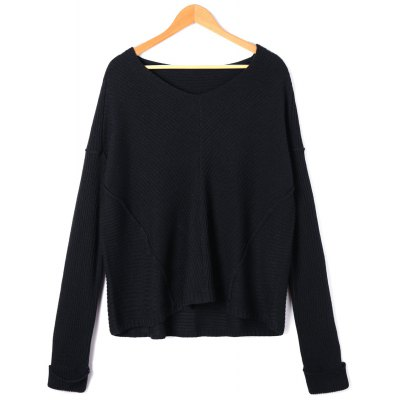Drop Shoulder High Low Long Sleeve Sweater
