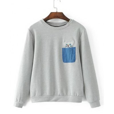 Cat Embroidery Contrasting Pockets Sweatshirt