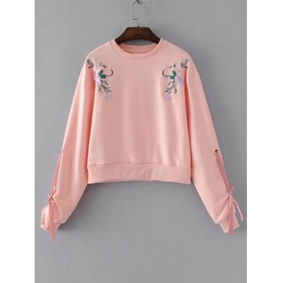 Floral Embroidery Bow Tied Sleeve Sweatshirt