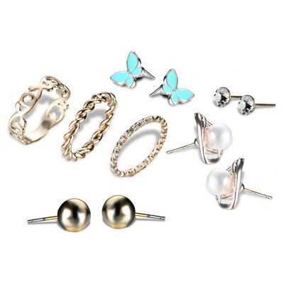 Faux Pearl Butterfly Earring and Ring Set