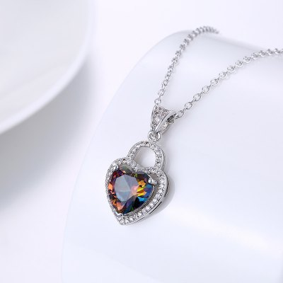 Faux Gemstone Heart Collarbone Necklace