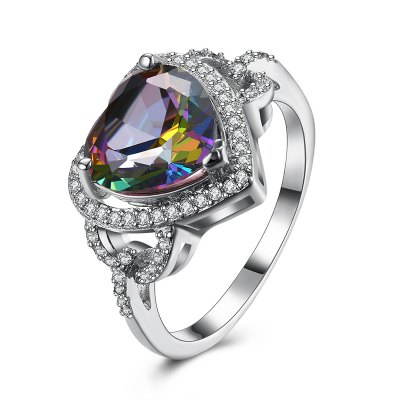 Sparkly Faux Gemstone Heart Finger Ring