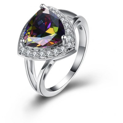Faux Gemstone Triangle Sparkly Finger Ring
