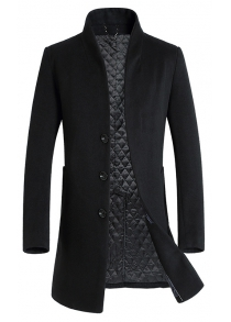 Single-breasted Quilted Wool Blend Coat