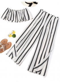 Stripes Tube Top and Wide Leg High Slit Pants