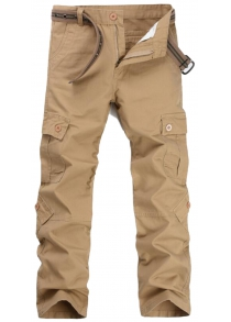 Zip Fly Casual Cargo Pants with Flap Pockets