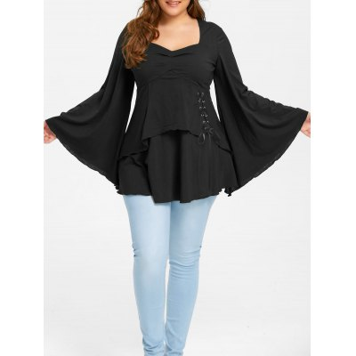 Plus Size Lace Up Sweetheart Neck Top
