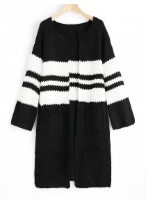Two Tone Open Front Slit Cardigan