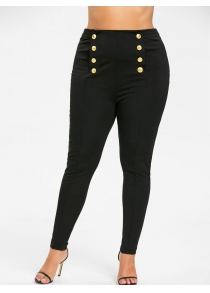 Plus Size Double Breasted Skinny Pants
