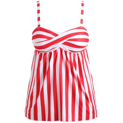 Stripe Padded Tankini Top with Thong