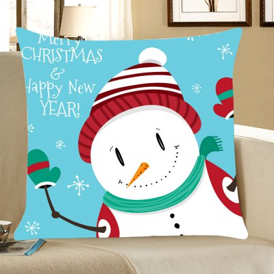 Merry Christmas Snowman Happy New Year Pillowcase