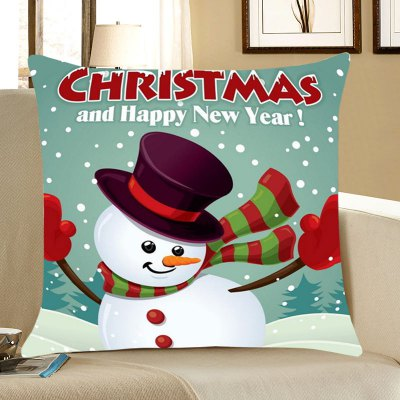 Christmas Snowman Happy New Year Linen Pillowcase