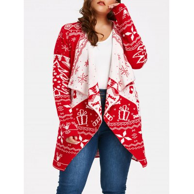 Plus Size Draped Cardigan with Christmas Element