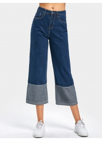 High Waisted Contrast Wide Leg Cropped Jeans