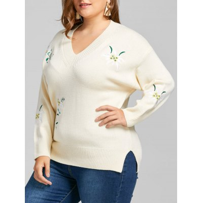 Plus Size Floral Embroidered V Neck Sweater