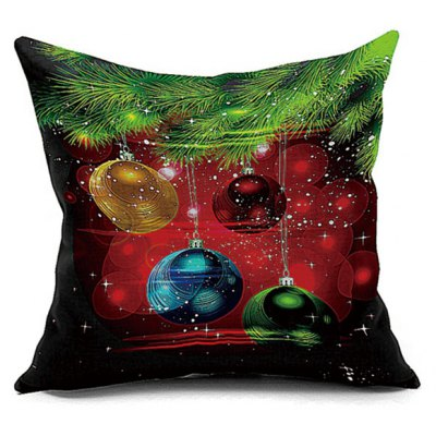 Christmas Balls Printed Decorative Pillow Case