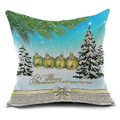2017 Christmas Tree Print Decorative Pillow Case