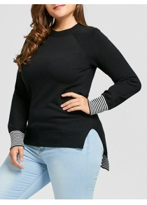 Plus Size High Low Striped Sweater