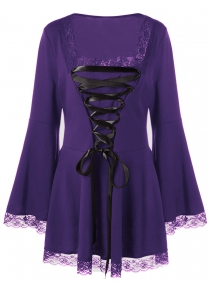 Halloween Plus Size Bell Sleeve Lace Up Top
