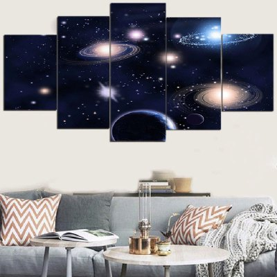 Galaxy Patterned Unframed Split Canvas Paintings