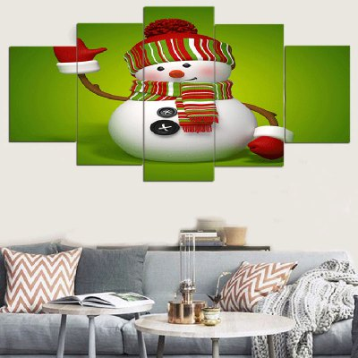 Christmas Snowman Pattern Wall Art Split Canvas Paintings