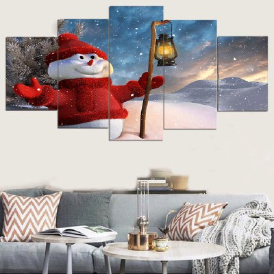 Taking Lamp Snowman Print Split Canvas Paintings