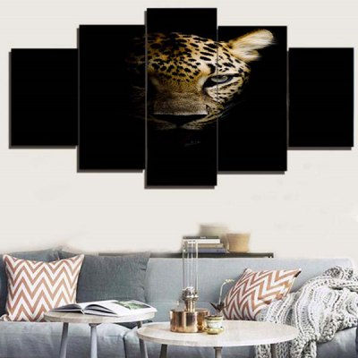 Dark Night Leopard Printed Unframed Canvas Paintings