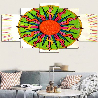 Tribal Sun Pattern Unframed Canvas Paintings