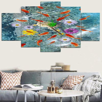 Fishes and Flowers Pattern Unframed Canvas Paintings