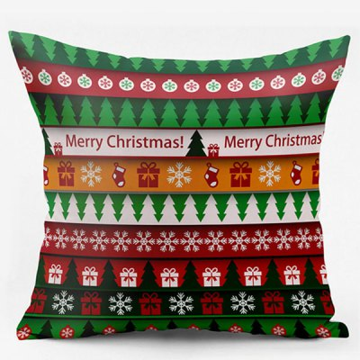 Christmas Elements Double Side Printed Throw Pillowcase