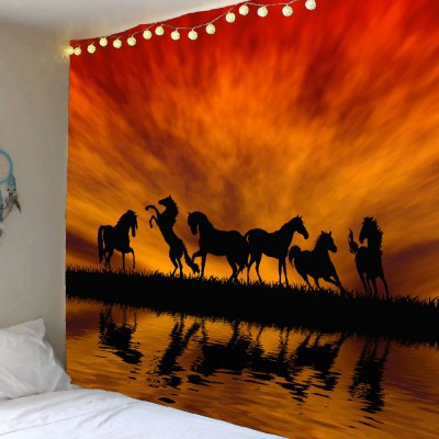 Sunset Glow Horses Pattern Wall Art Tapestry