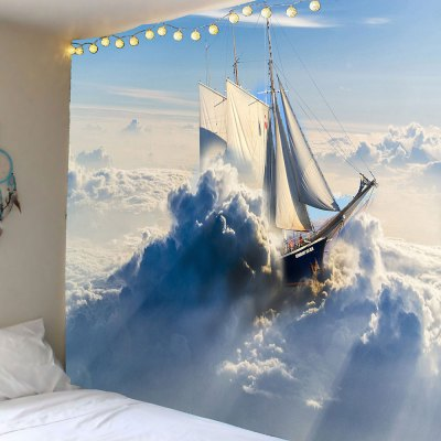 Ship In the Clouds Pattern Wall Art Tapestry