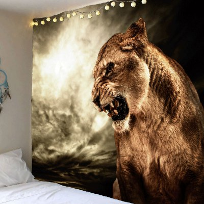 Roaring Lion Printed Hanging Wall Art Tapestry